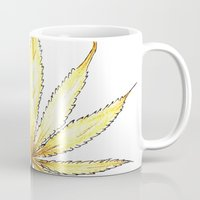 cannabis Mugs featuring Golden Cannabis by  Can Encin