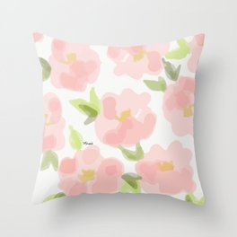 Floral watercolor pattern - pink roses Throw Pillow