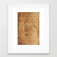 lord of the rings Framed Art Prints featuring Lord of the Rings by Kory Hill