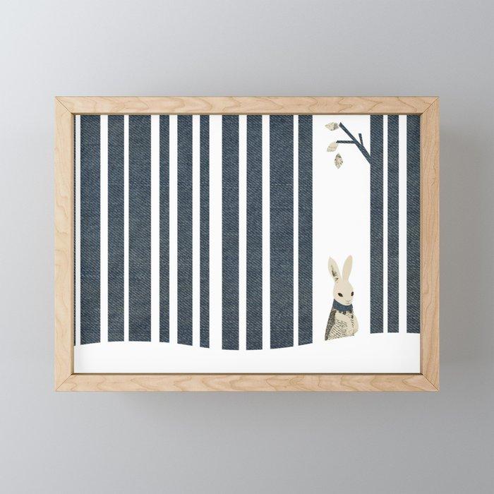 Winter Scene with Rabbit (Chasing the White Rabbit) Framed Mini Art Print