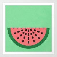 watermelon Art Prints featuring Watermelon by Karolis Butenas