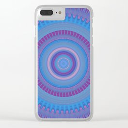 Electric Purple Blue Mandala Clear iPhone Case
