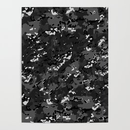 Charcoal Gray Popular Multi Camo Pattern Poster