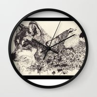 wolves Wall Clocks featuring Wolves by Maria Gabriela Arevalo Reggeti