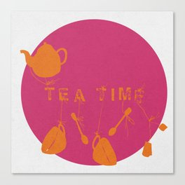 Pink and Orange Tea Time Canvas Print