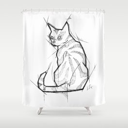 Cat Handmade Drawing, Made in pencil and ink, Tattoo Sketch, Tattoo Flash, Blackwork Shower Curtain