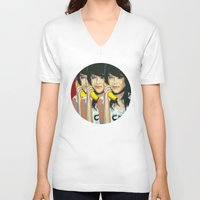 lara croft V-neck T-shirts featuring Girl - Holly Croft by Momentum Magazine