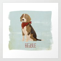 beagle Art Prints featuring Beagle by 52 Dogs