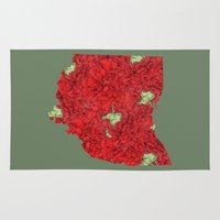ohio state Area & Throw Rugs featuring Ohio in Flowers by Ursula Rodgers