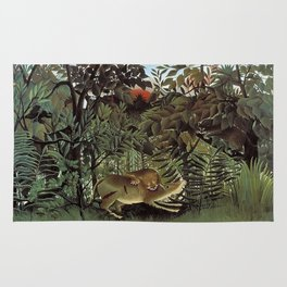THE HUNGRY LION ATTACKING AN ANTELOPE - ROUSSEAU Rug