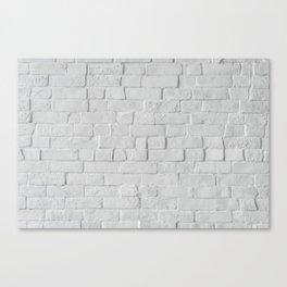 White Brick Wall (Black and White) Canvas Print