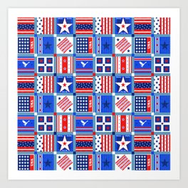 4th July Patchwork Art Print
