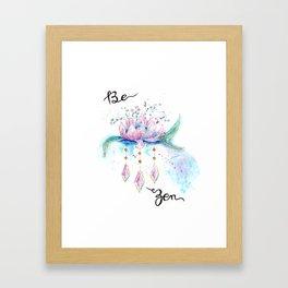 Be Zen Lotus Flower Watercolor Framed Art Print