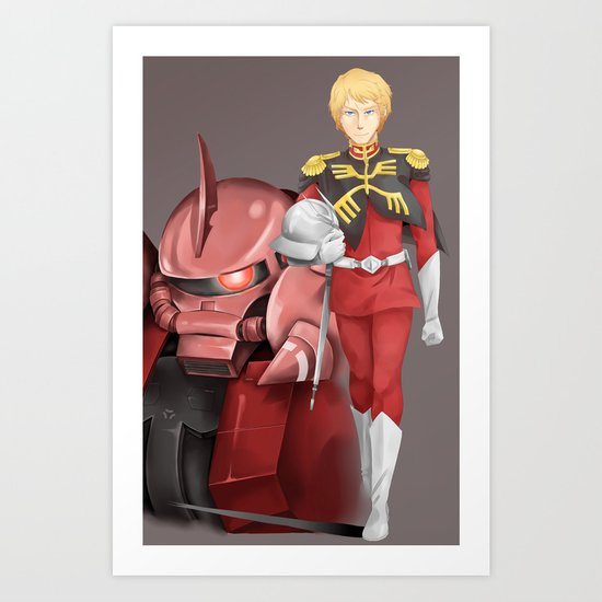 char aznable 0079 art print by ace of zeon society6