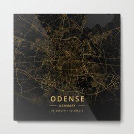 Odense, Denmark - Gold Metal Print