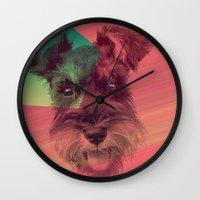 schnauzer Wall Clocks featuring Schnauzer by MOSAICOArteDigital