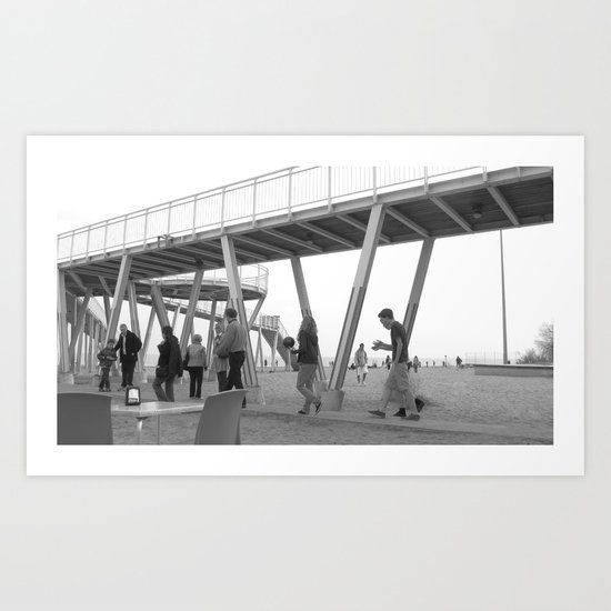People and the beach Art Print