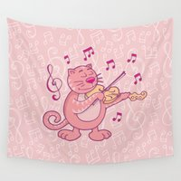violin Wall Tapestries featuring Pink Cat with Violin by Sifis