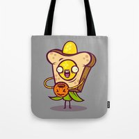 bread Tote Bags featuring Corny Bread by Artistic Dyslexia