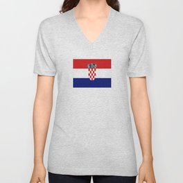 Flag of croatia -croatian, Hrvatska,croat,croacia,Zagreb,split,rijeka,osijek. Unisex V-Neck