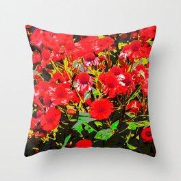 Red flowers garden Throw Pillow