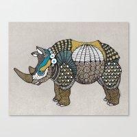 rhino Canvas Prints featuring Rhino by farah allegue