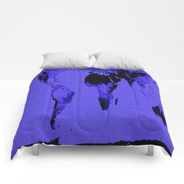 World Map: Gall Peters Indigo Purple Comforters