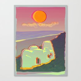 Red Moon Summer Vibrations Canvas Print