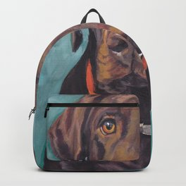 Chocolate lab LABRADOR RETRIEVER dog portrait painting by L.A.Shepard fine art Backpack