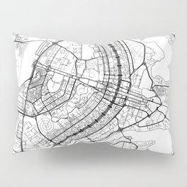 Brasilia Map White Pillow Sham