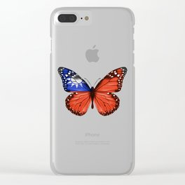 Butterfly Flag Of Taiwan Clear iPhone Case