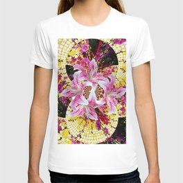 ABSTRACTED FUCHSIA-PINK LILY & HOLLYHOCKS GARDEN T-shirt