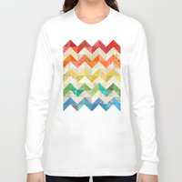 quilt Long Sleeve T-shirts featuring Chevron Rainbow Quilt by Rachel Caldwell