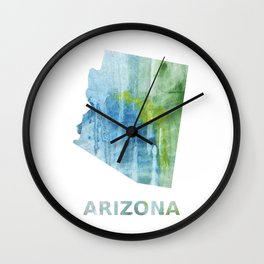 Arizona map outline Blue green colored wash drawing Wall Clock