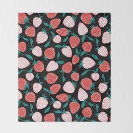 Pink strawberry pattern on black background, tutti frutti trend! Throw Blanket