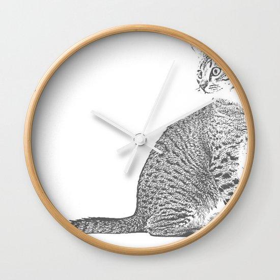 Cat Sketch Wall Clock