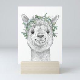Alpaca with wreath Mini Art Print