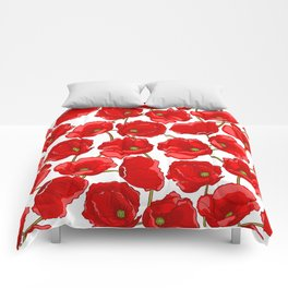 cute red poppies Comforters