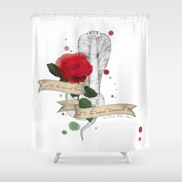 Shakespeare Quote (Flower and Serpent) Shower Curtain