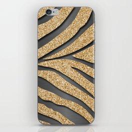 Gold Glitter Zebra Stripes on Dark Metallic iPhone Skin