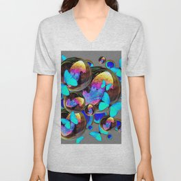 BLUE & GOLD  BUBBLES BLUE BUTTERFLIES PEACOCK EYES Unisex V-Neck