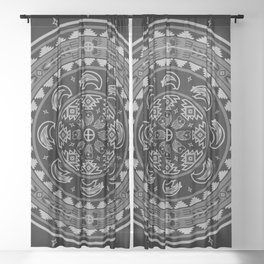 Bear Spirit (Gray) Sheer Curtain