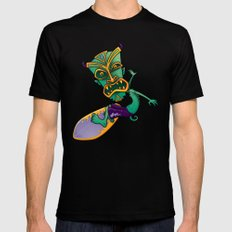 Tiki Surfer Black SMALL Mens Fitted Tee