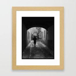 Man with umbrella Framed Art Print