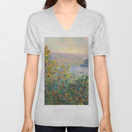 1881-Claude Monet-Flower Beds at Vétheuil-73 x 92 Unisex V-Neck