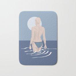 The girl from Budva in classic blue Bath Mat