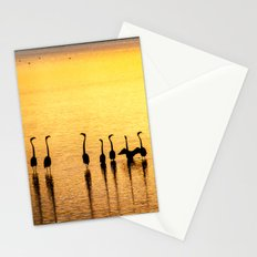 Silhouette of Pink Flamingos Stationery Cards