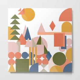 Folksy Geometric Abstract Landscape Metal Print