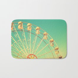 All the happy days - Carnival, ferris wheel , turquoise green, vintage retro, fall autumn, blue sky Bath Mat