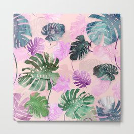 Tropical Leves on Pink Metal Print
